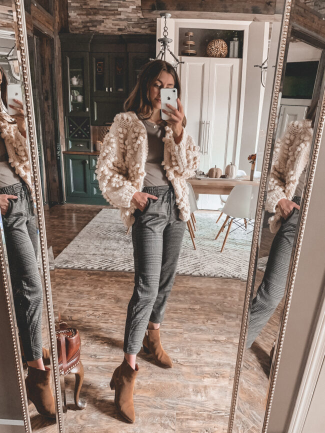 Neutral fall outfit with suede booties, plaid pants and pom pom cardigan sweater, fall outfits 2020