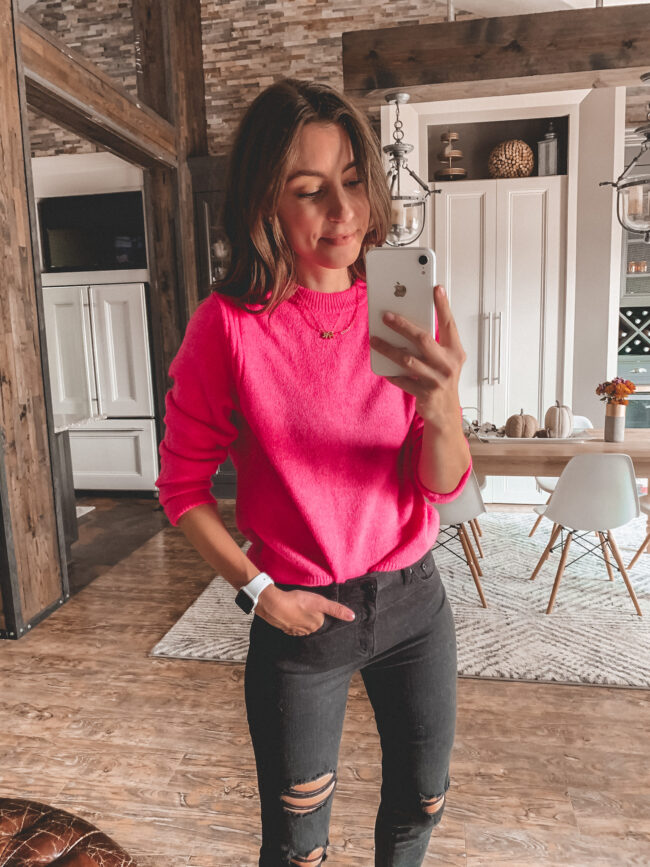 Pink sweater and high waist black jeans, fall outfits 2020, try-on, fall outfit, fall outfits from target
