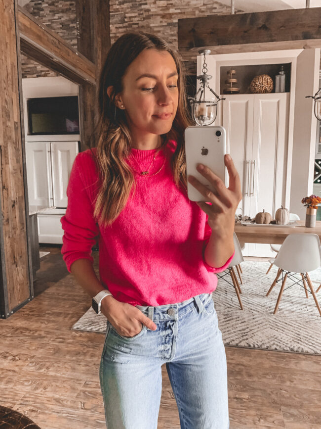 Pink sweater and high waist jeans, fall outfits 2020, try-on, fall outfit, fall outfits from target