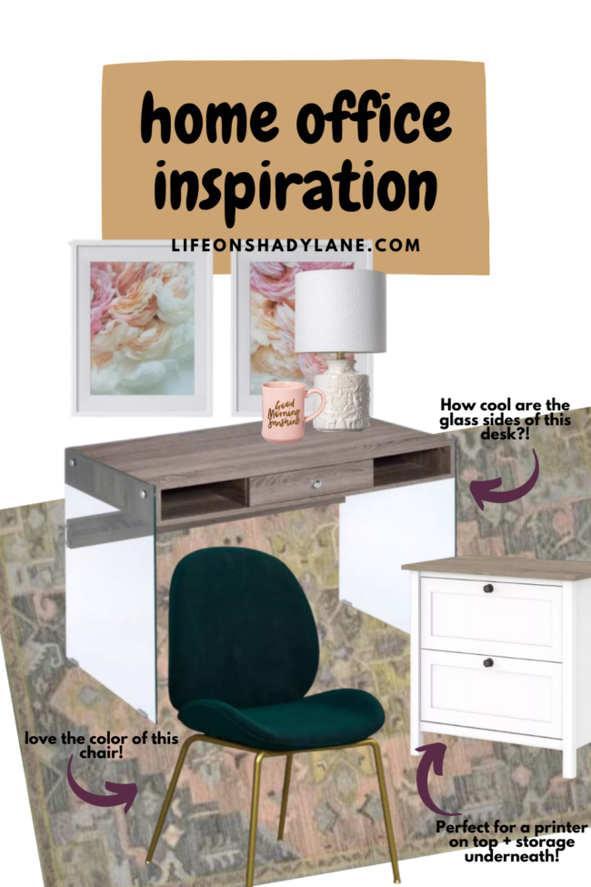 Pretty, functional, and beautiful home office inspiration || Home office ideas for inspiration to make your space more beautiful and functional! Kansas City life, home, and style blogger shares four home office ideas