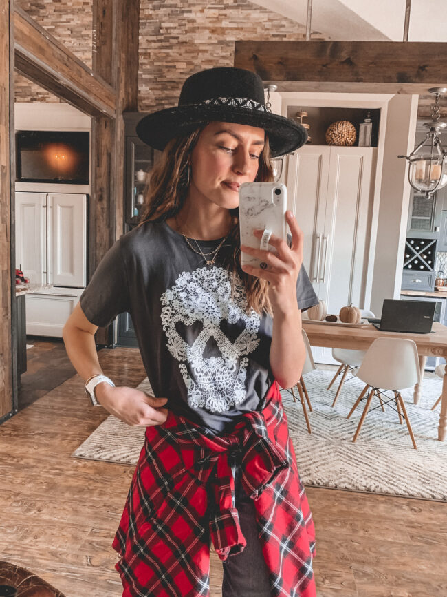 I styled this $8 Target tee for a casual Halloween outfit you can wear throughout the whole month of October (or on Halloween!).