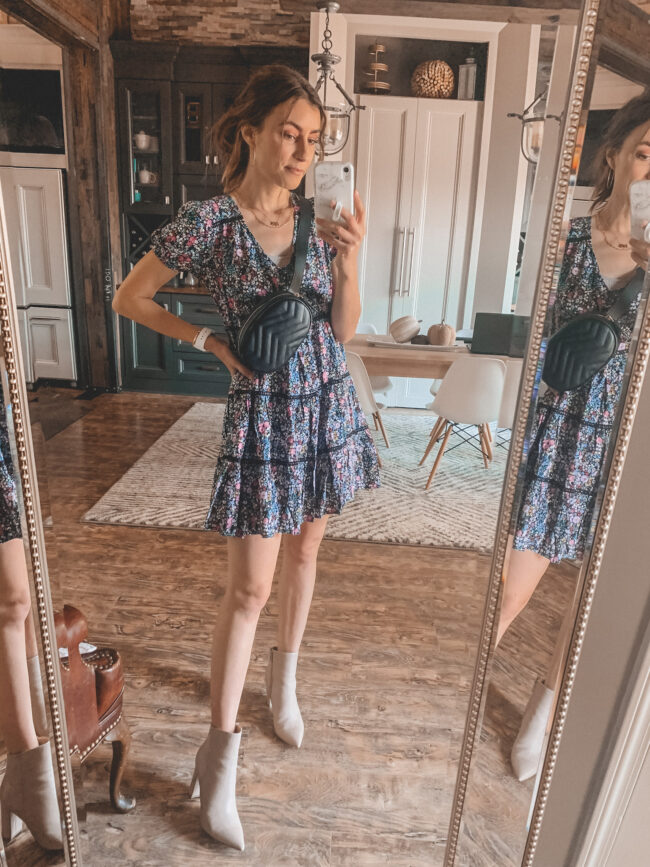 Fall dress and black belt bag, gucci belt bag dupe | Fall dresses for 2020 - all from Target and very affordable! Perfect for wearing with fall booties or sneakers. Fall outfit ideas. #falloutfits