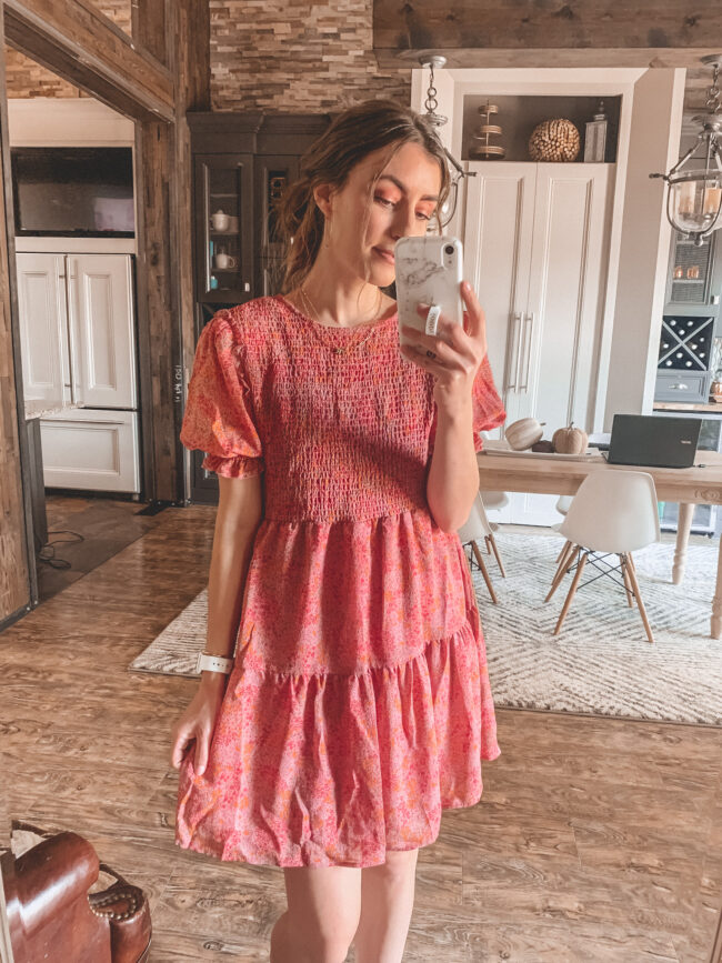 Pink smocked fall dress | Fall dresses for 2020 - all from Target and very affordable! Perfect for wearing with fall booties or sneakers. Fall outfit ideas. #falloutfits