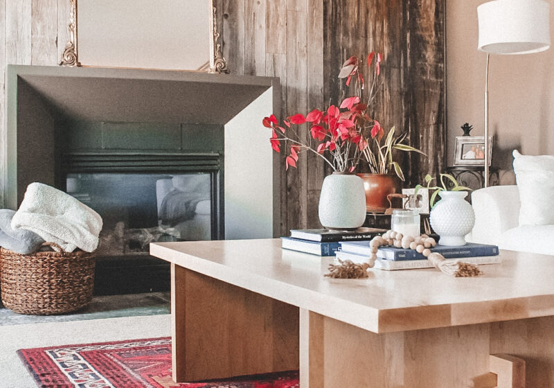 A new rectangle coffee table for our lower level living room - it was customed built by J Thomas Home and turned out beautifully! || Kansas City life, home, and style blogger Megan Wilson shares a new coffee table for her living room