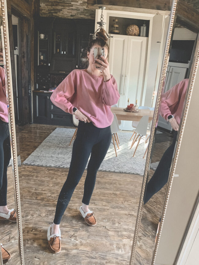 Pink sweater and a lululemon-like pair of leggings from AMAZON! | Comfy and casual JANUARY outfits from Amazon - the first of my 2021 Amazon finds! Kansas City life, home, and style blogger Megan Wilson