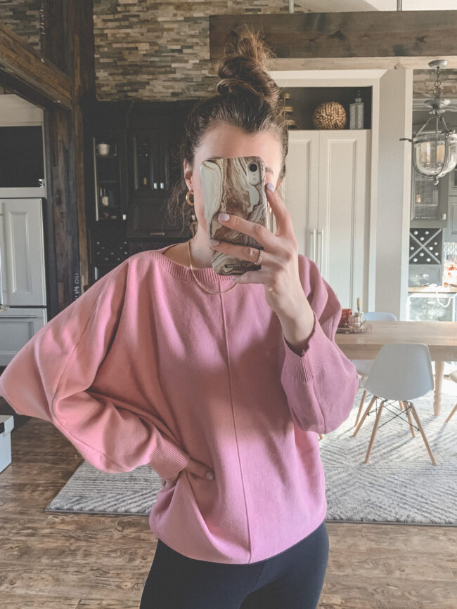 Pink sweater from AMAZON! | Comfy and casual JANUARY outfits from Amazon - the first of my 2021 Amazon finds! Kansas City life, home, and style blogger Megan Wilson