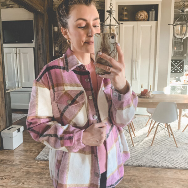 A plaid pink shacket from AMAZON! | Comfy and casual JANUARY outfits from Amazon - the first of my 2021 Amazon finds! Kansas City life, home, and style blogger Megan Wilson