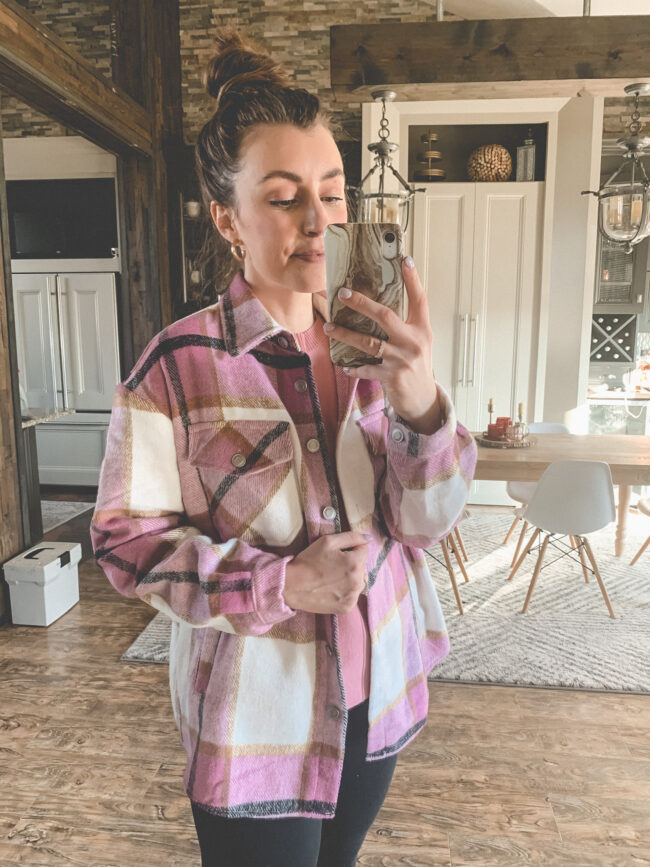 Pink plaid SHACKET | Comfy and casual JANUARY outfits from Amazon - the first of my 2021 Amazon finds! Kansas City life, home, and style blogger Megan Wilson