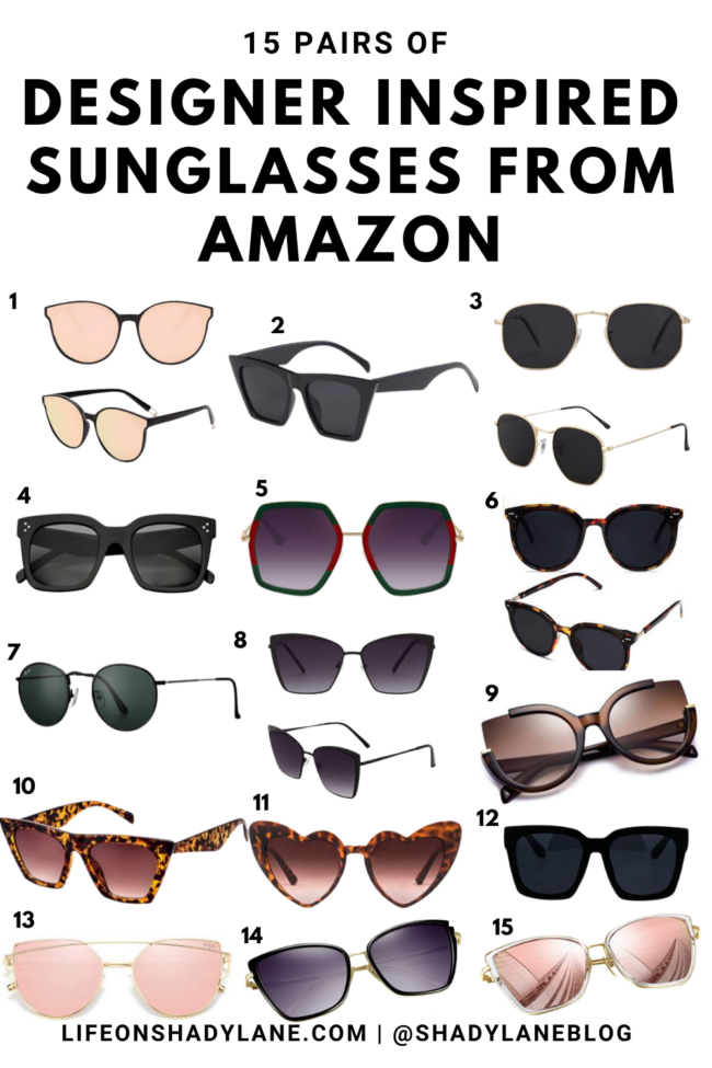 Designer inspired sunglasses from Amazon so you don't have to break the bank! 15 pairs of affordable sunglasses. | Kansas City life + style