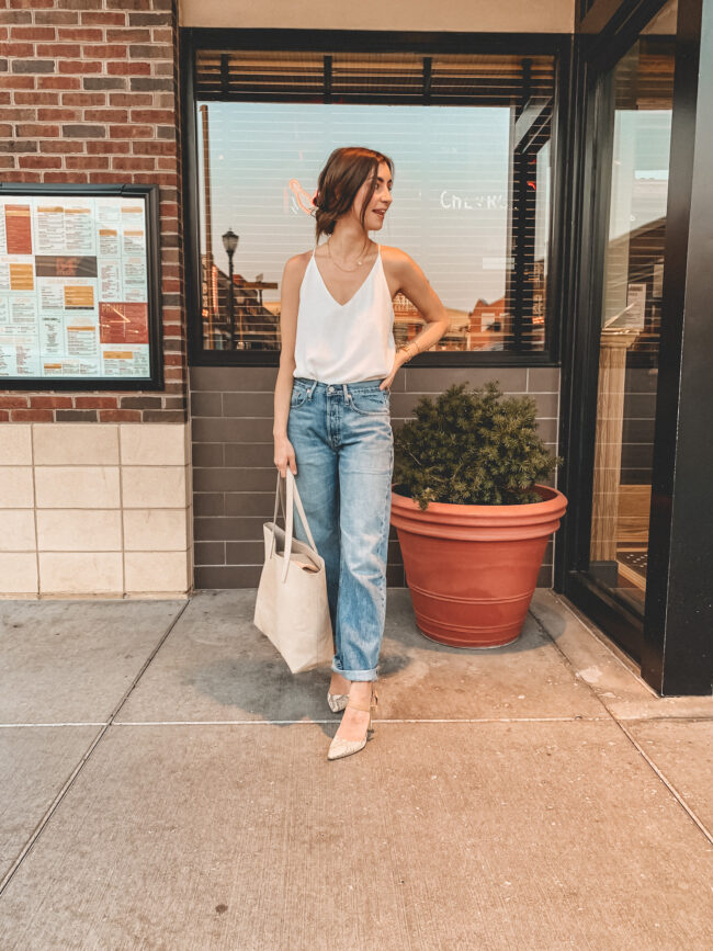 Boyfriend jeans outfit with my favorite pair ever - the denim is SO soft. Seriously, these are the best jeans ever! | Kansas City life, home, and style blogger Megan Wilson shares how to wear boyfriend jeans
