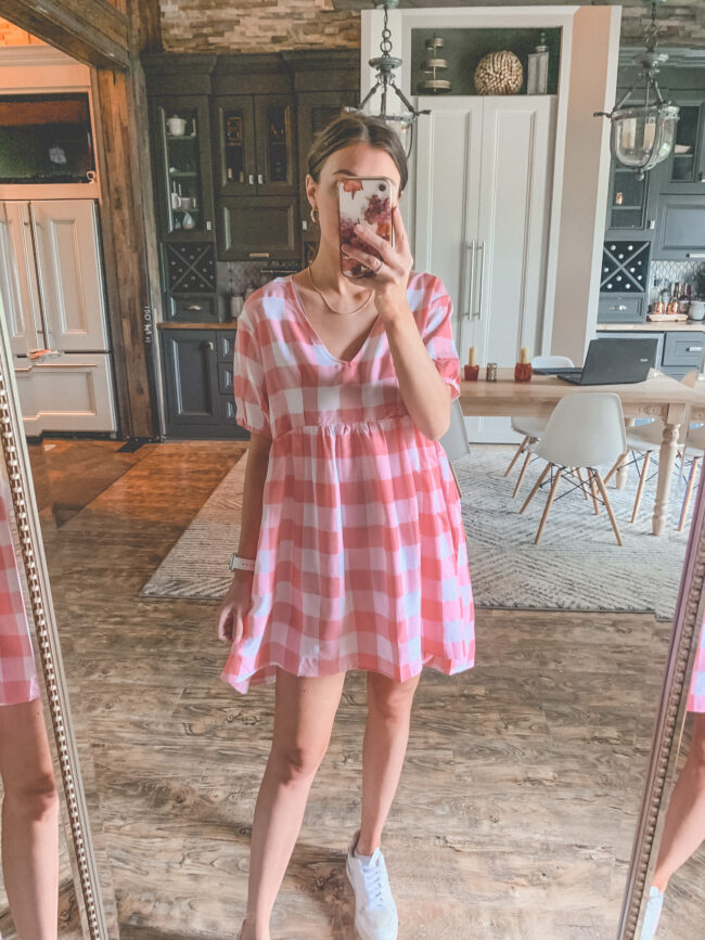 Pink and white short dress for summer | Dress and sneakers | Bump friendly outfits for summer that you can wear pregnant OR not! Easy, breezy maternity summer style for pregnancy and beyond