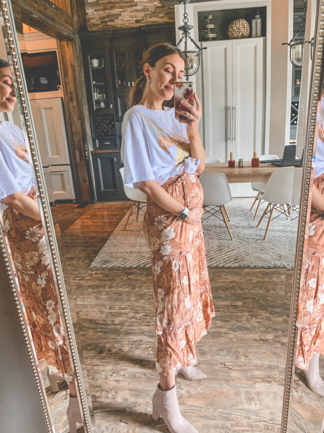 Def Leppard band tee and a maxi skirt | Bump friendly outfits for summer that you can wear pregnant OR not! Easy, breezy maternity summer style for pregnancy and beyond