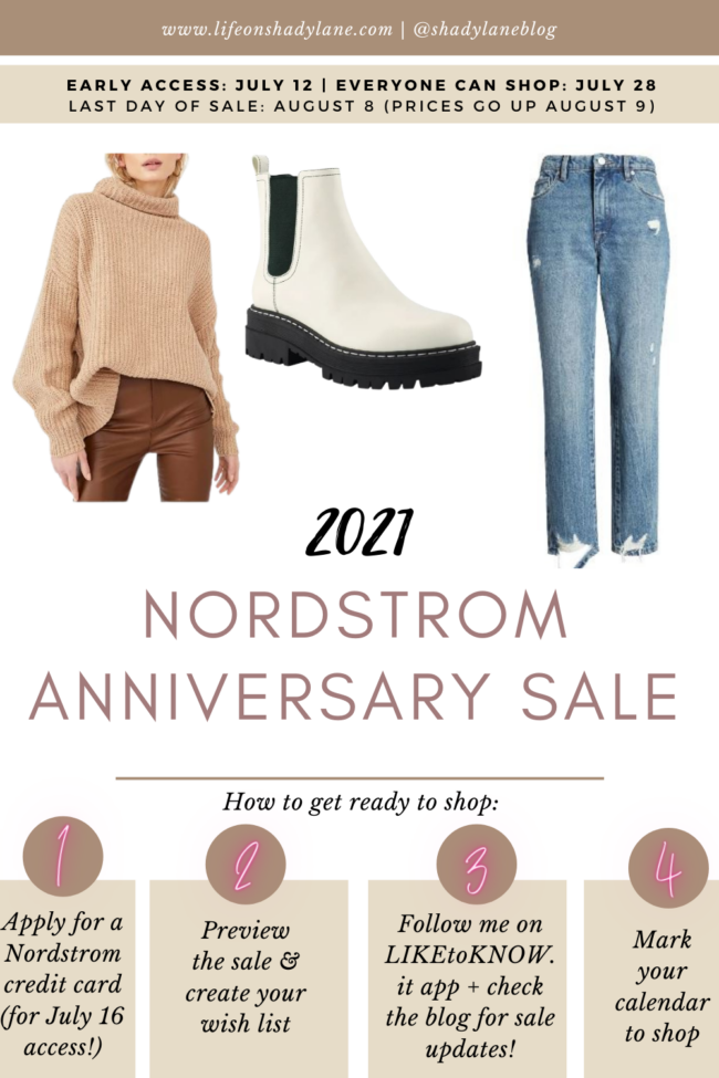 Nordstrom Anniversary Sale 2021 Guide - Dates, Preview, and Early Access | Everything you need to know about the Nordstrom Anniversary Sale, the best time to stock up on fall fashion, home decor, baby products, men's style, and more! | Kansas City life, home, and style blogger Megan Wilson @shadylaneblog on Instagram