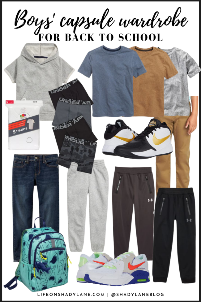 A boys' back to school capsule wardrobe to make shopping (and getting ready each day!) super easy. Everything can be mixed and matched!
